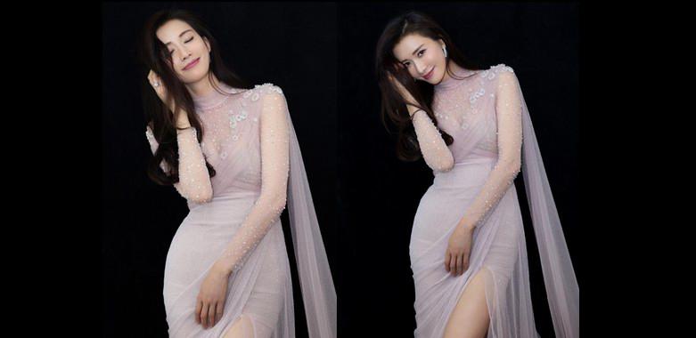 林志玲粉色透视连衣裙搭波浪卷发青春靓丽,44岁嫩回20岁